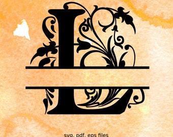 Split Monogram Letters, Split Alphabet svg files, vector files for silhouette, font for cricut, regal font svg, split monogram svg font