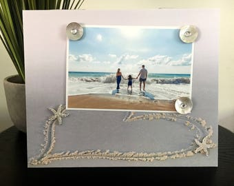 Heart in Sand - Beach Family Vacation Tropical Handmade Gift Present Home Decor Magnetic Picture Frame Size 9 x 11 Holds 5 x 7 Photo