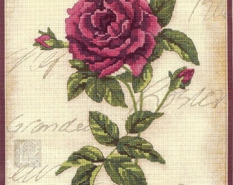 """Rose Royale Dimensions No Count Cross Stitch Sealed Embroidery Kit #39017 Finished Size 9"""" x 12"""" Design From House in the Country 2000"""