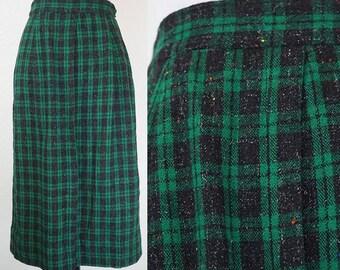 1950s Green Plaid Woven Wool Pencil Skirt XS/S