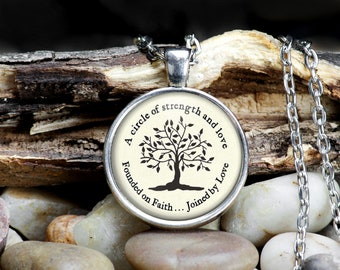 Family Tree Jewelry, A Circle of Strength and Love, Founded By Faith Joined by Love, Tree Of Life, Mother's Day Gift, Necklace Keychain