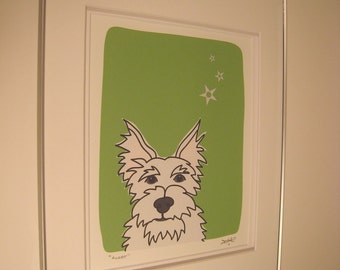 Alert - a Westie - Signed and Framed Print in the Dog Series by Danielle J Hurd