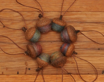 Felted Wool Acorn Ornaments in Rainbow Blend,  also available without hangers