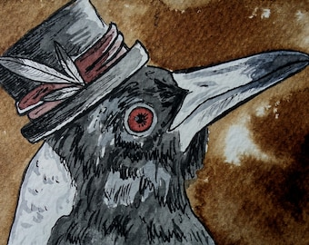 Original ACEO ATC Watercolour Magpie Drawing