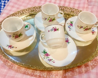 Vintage Floral Demitasse Cups & Saucers Set of Four Made In China