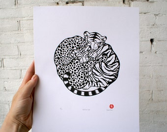 100% donation to wild cat conservation group Panthera - 'Panthera Pair', handmade, signed and editioned silkscreen print (black & white)
