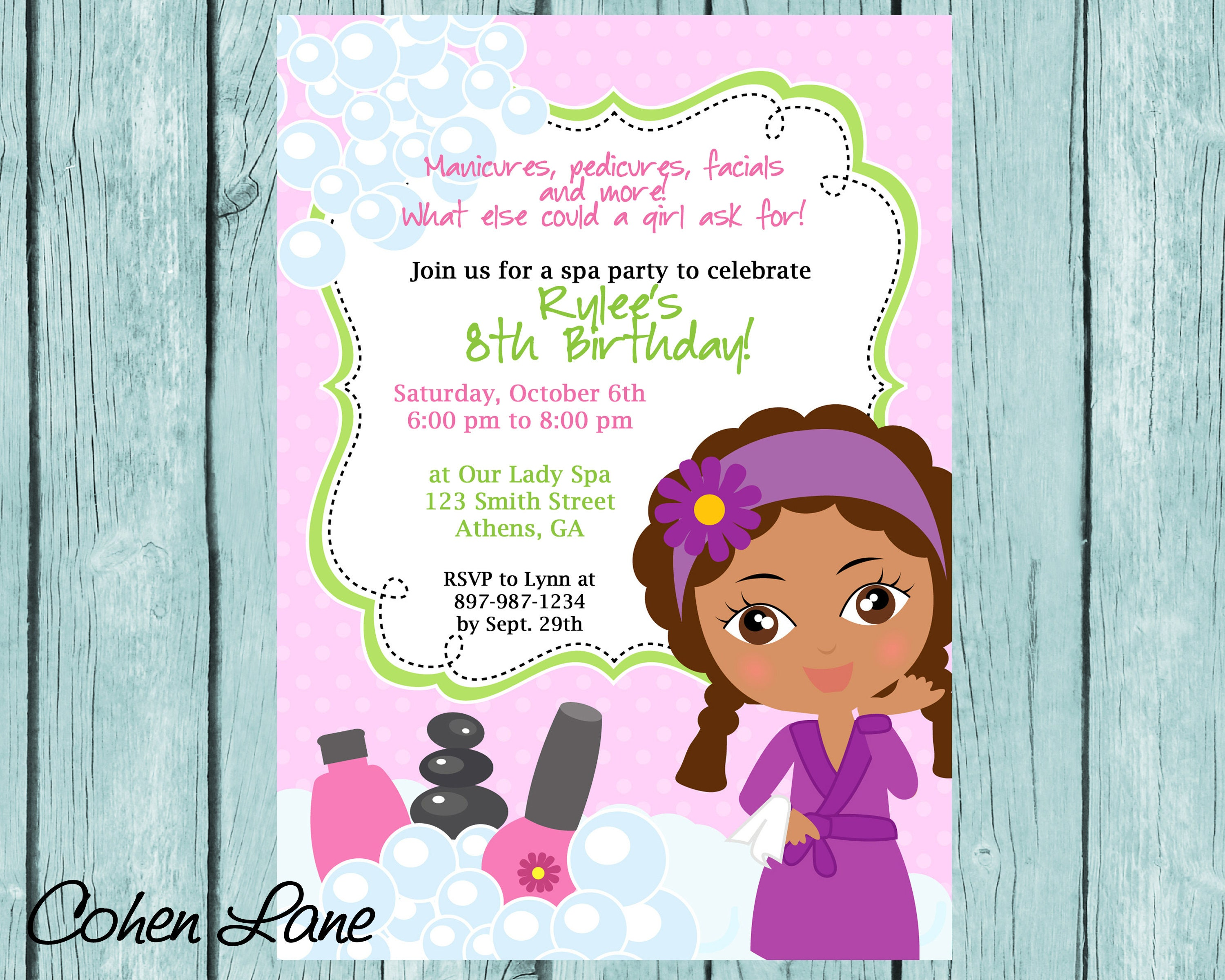 DIY Sassy Spa Party invitation. African American Little Girl