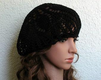 Women's CrochSummer beret Summer hat Black Cotton beret hat Women's Summer hat Women's Slouchy Beret Tam Hat