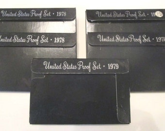 Five 1970'S United States Proof Set Coin 1975S, 1976S, Two 1978S, 1979S W Sleeve