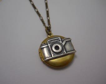 Camera Locket Photo Journalist Jewelry Photography Charm Locket Take a Picture Mixed Metal Medium Sized Locket Necklace Gift Photographer