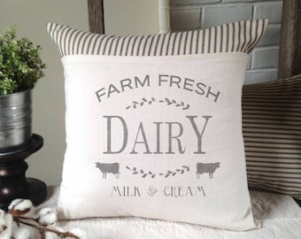 Dairy, Milk and Cream, Farmhouse, Pillow Cover, Country, Ticking