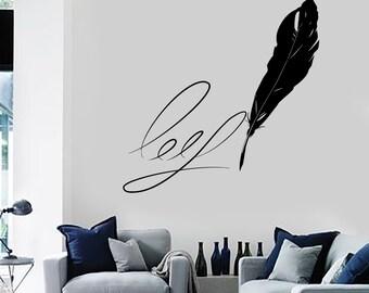 Wall Vinyl Decal Writing Pen Writer Journalist Amazing Romantic Decor Mural Art 1492dz