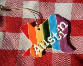 Austin Texas Rainbow Ornament, Austin Ornament