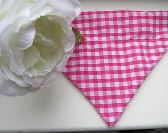 Haus_OfPaws Pink Gingham Check Pet Bandana