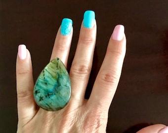 Flashy Blue Labradorite Statement Ring Size 6 Haute Couture EMPJEWELLERY