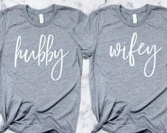 Honeymoon T-Shirts, Wifey Tshirt, Hubby Shirt, Married Couples, Cute Wedding Present, Gift Christmas, Hubby Wifey Shirts, Groom Shirts, SP4