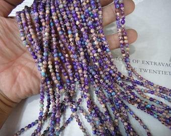 4mm purple imperial jasper round beads, 15.5 inch