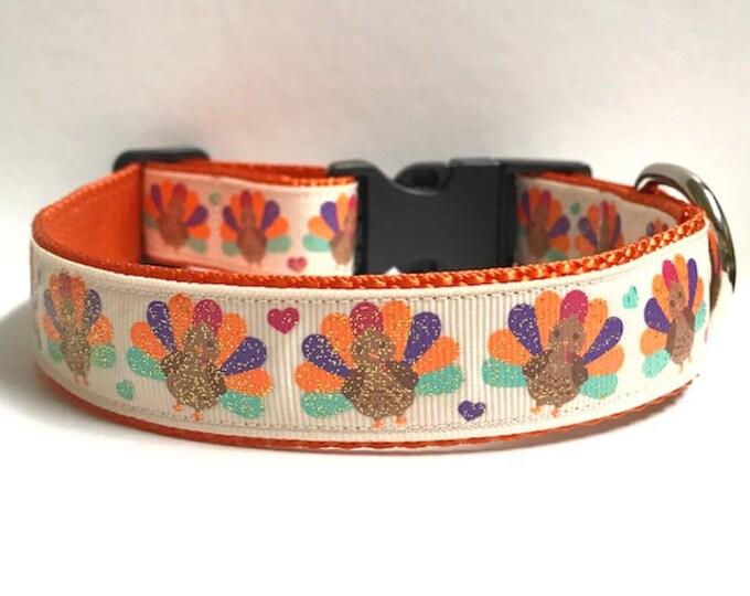 """1"""" Glitter Turkeys & Hearts Collar"""