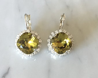 Khaki & Clear Swarovski Crystal Earrings, Silver
