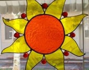 Sun Fire Stained Glass Sun Catcher