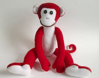 Red Monkey, Fire Monkey, Plush Toy Monkey, Simbol 2016 year, Red Fiery Monkey, Kawaii Monkey, Doll Monkey, stuffed toy,  FREE SHIPPING