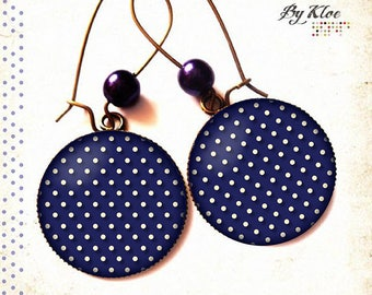 Earrings cabochon • polka • Navy vintage glass