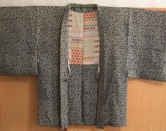 Dark blue and grey patterned silk haori jacket, vintage Japanese coat
