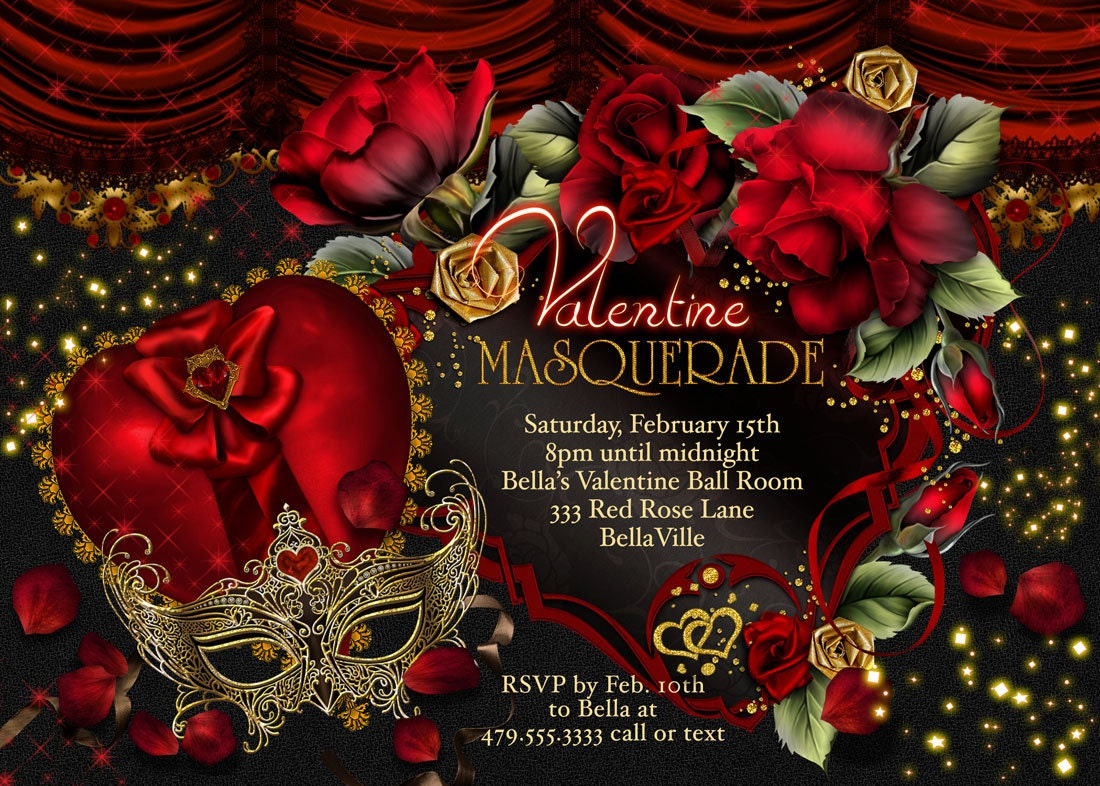 Masquerade Valentine Party Invitations Valentines Day Party