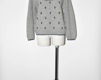 90s gray wool ski sweater / 1990s fair isle pullover / Nordic wool sweater