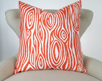 Orange Faux Bois Pillow Cover -MANY SIZES- custom Tangerine Tangelo Willow wood grain tree white cushion cover throw euro sham decorator