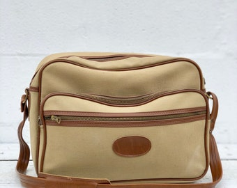1970's Canvas & Vinyl Carry On Luggage / Train Case Overnight Travel Bag