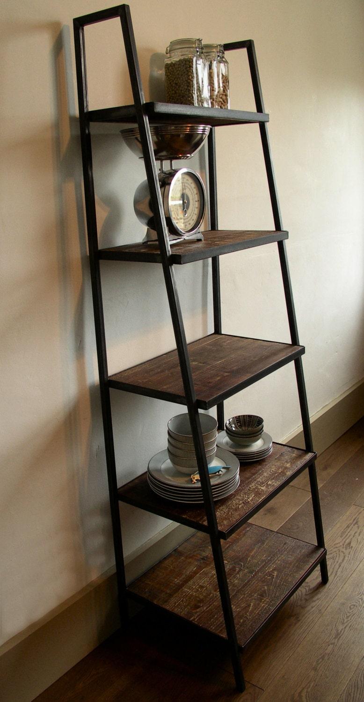 industriel style chelle tag re bois vieilli fonc. Black Bedroom Furniture Sets. Home Design Ideas