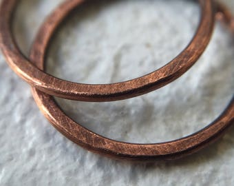 Small Rustic Copper Hoop Earrings 9mm - 12mm for Body / Cartilage / Lip / Septum / Tragus 18g Continuous Hoop - Minimalist Earrings