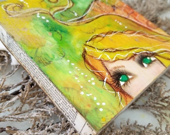 Peek A Boo mermaid. ORIGINAL mini  mixed media painting. Amber and lime.