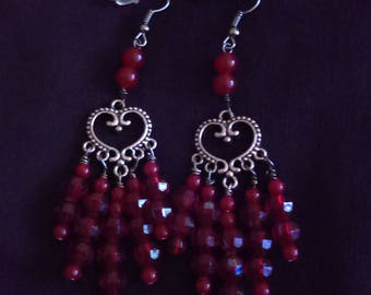Red heartthrob earrings