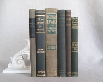 Vintage Textbooks, Decorative Books, Book Bundle, Shabby Book Stack, Home Staging, Wedding Centerpiece, Farmhouse Books, Green and Beige