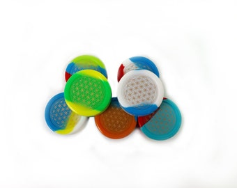 FLOWER OF LIFE silicone container/jar, oil, wax, dabs, concentrates, large, 22ml