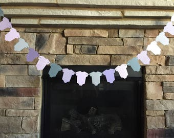 Baby Banner Onesie Garland, Baby Shower Decor, Lavender and Grey Paper Garland, Purple Baby Shower