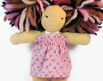 8 inch Chubby Waldorf Doll Clothes, 8 in pink doll dress, doll dress with knickers, doll clothing, waldorf dress and bloomers