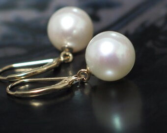 14k Gold Pearl Earrings | Large Fine 10mm White Freshwater Pearls | Solid Yellow Gold Leverbacks | Classic Pearl Dangles | Ready to Ship