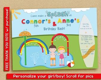 Splash Pad Invitation, Water Park Birthday Party, Spray Park Invitation, twins, siblings, friends