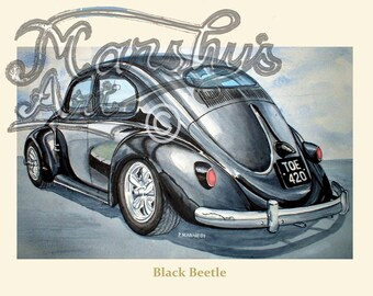 VW Beetle art print a real classic car in black.