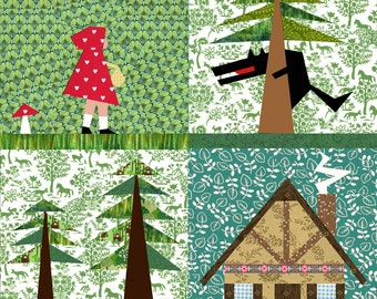Little red Riding Hood Set of 4 paper pieced quilt block patterns PDF, bubblestitch pattern