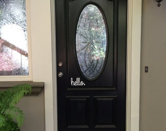 Hello Front Door Entry 7x4 Sign Vinyl Wall Decal Sticker