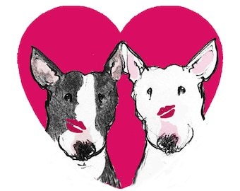Adorable Bull Terriers Blank Card - Valentine Card - Fathers Day Card