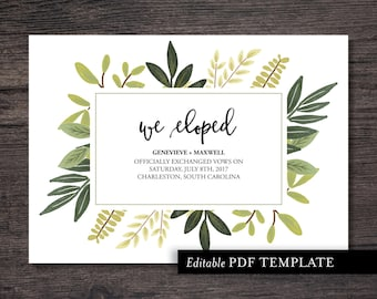 We Eloped Wedding Announcement Template | We Eloped Announcement | Just Married Announcement | PDF Editable Template | Instant Download