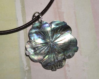Leather Surfer Necklace Choker with Paua Shell Flower Beach Jewelry Vacation