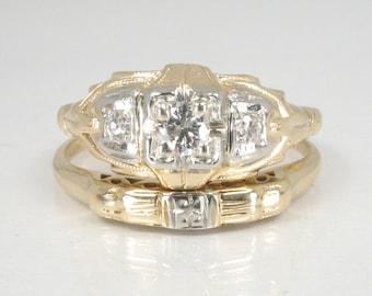 Antique Estate Diamond Wedding Ring Set - Two Tone 14K Gold