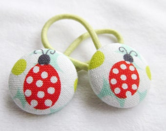 Ponytail holders - Ladybug on Daisies  - Pony tail holders - fabric covered button hair ties