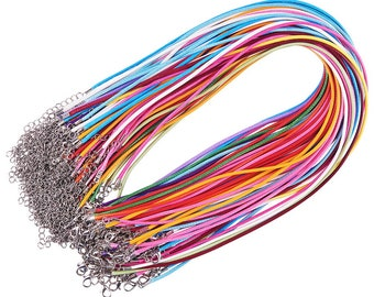 """2mm Waxed Necklace Cord (18.1"""") with Platinum Iron Lobster Clasp and Iron Chain - Random Colors - 5 Pieces"""